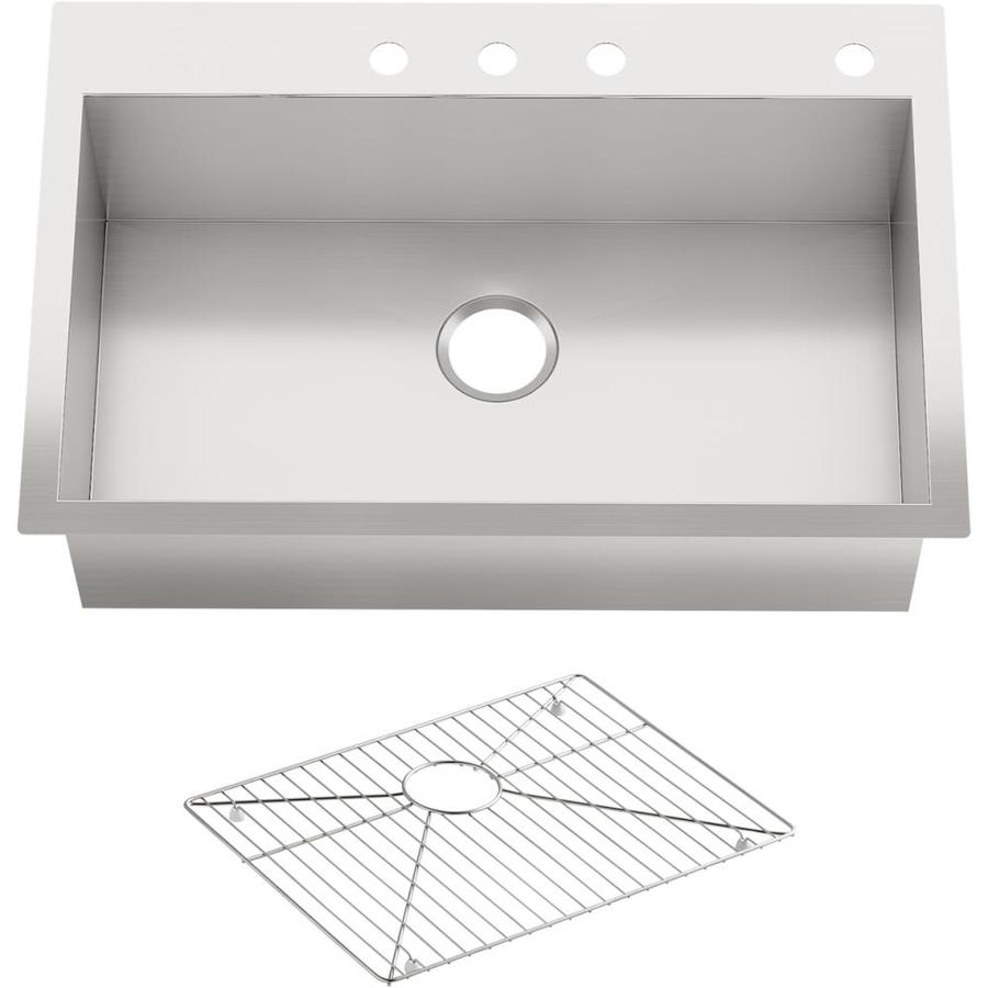 Kohler Vault Sink : Shop KOHLER Vault 22-in x 33-in Stainless Steel Double-Basin Drop-in ...