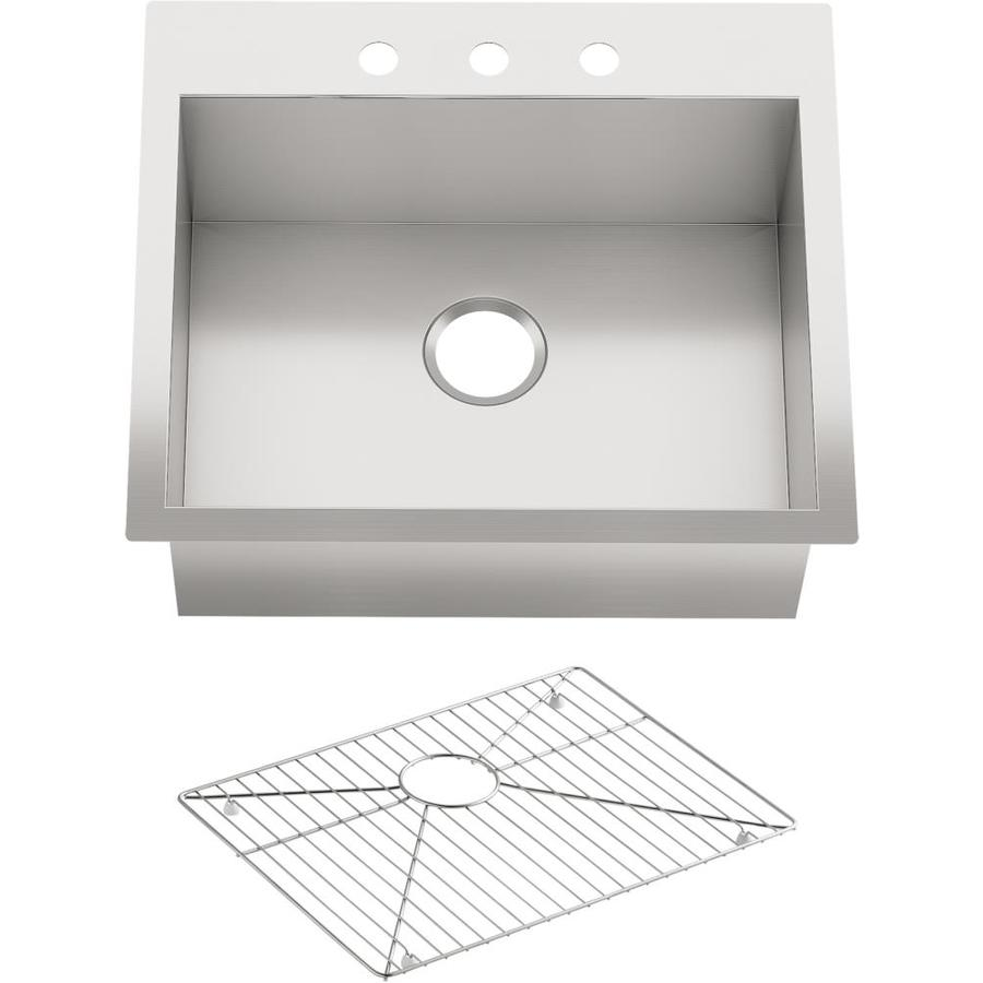Kohler Stainless Kitchen Sink : Shop KOHLER Vault Stainless Steel Single-Basin Drop-In Kitchen Sink at ...