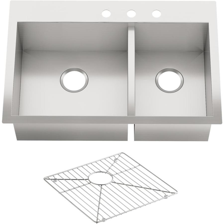 Kohler Stainless Kitchen Sink : Shop KOHLER Vault Stainless Steel Double-Basin Drop-In Kitchen Sink at ...
