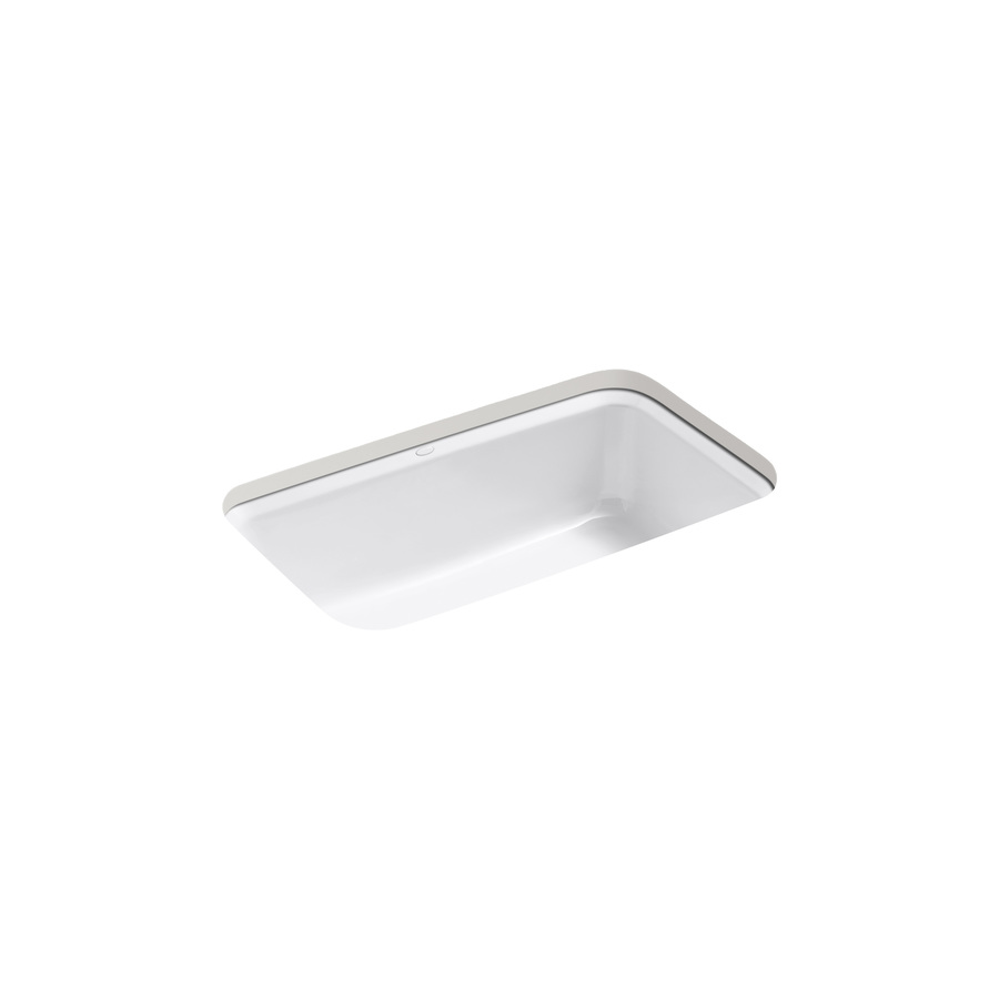 Shop Kohler Bakersfield 22 In X 31 In White Single Basin Cast Iron Undermount Kitchen Sink At
