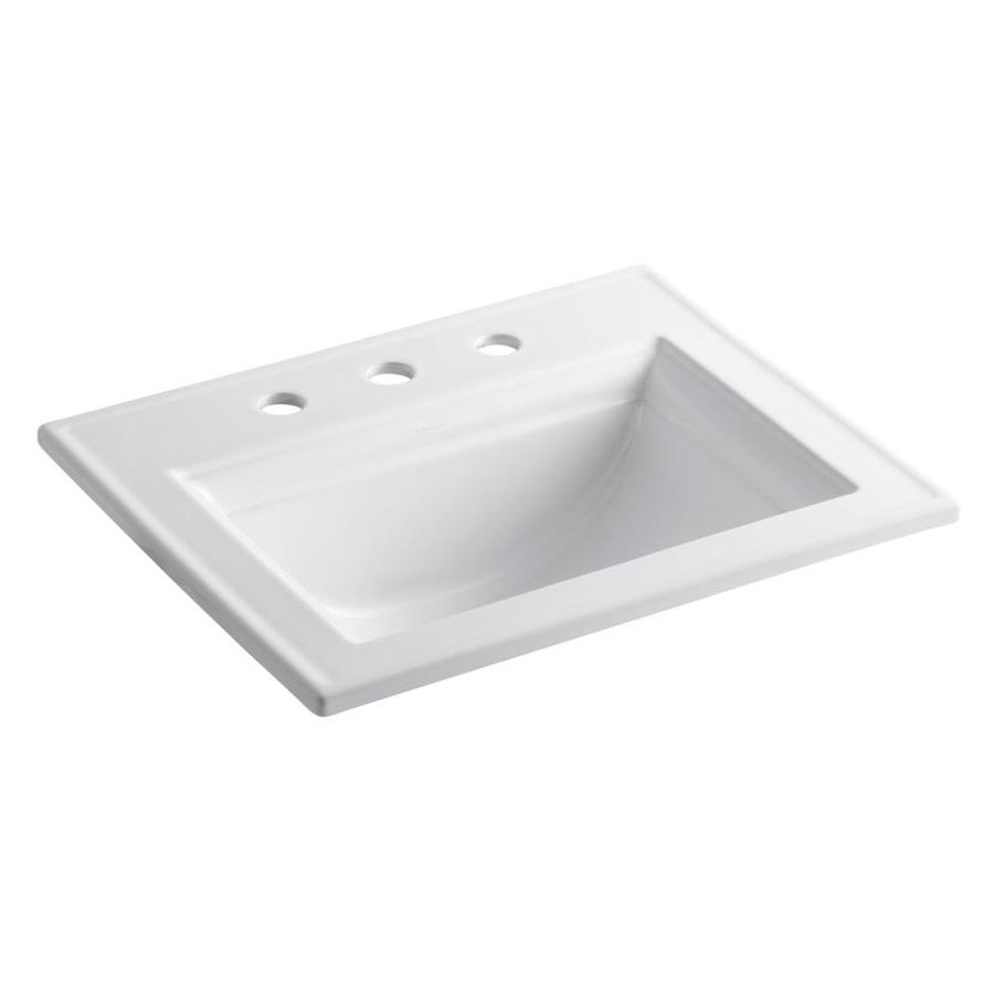 Kohler Rectangular Sink : Shop KOHLER Memoirs White Drop-In Rectangular Bathroom Sink with ...
