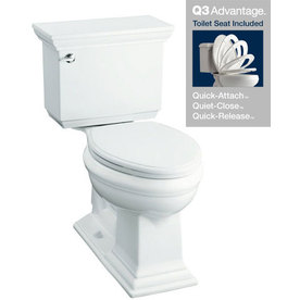 KOHLER Memoirs White 1.28 GPF High Efficiency WaterSense Elongated 2-Piece Toilet