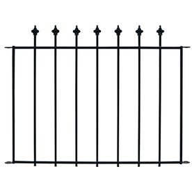 No Dig Black Powder-Coat Steel Decorative Metal Fence Panel