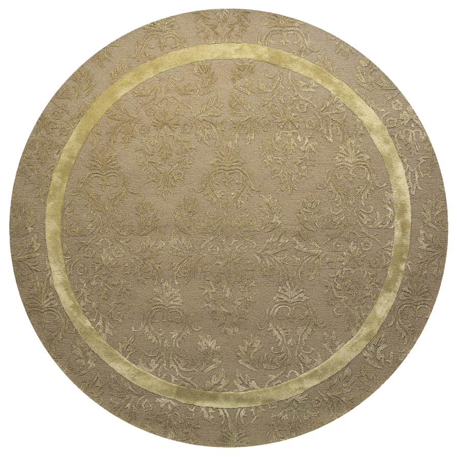 Shop Catalina Round Cream Solid Tufted Wool Area Rug Common 8 Ft X 8 Ft Ac