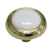 Style Selections Polished Brass and Porcelain Whit Round Cabinet Knob