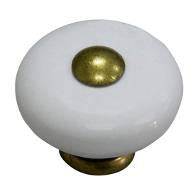 Display product reviews for Antique Brass and Porcelain White Round Cabinet  Knob