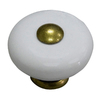 Style Selections Antique Brass and Porcelain White Round Cabinet Knob