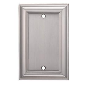 allen + roth 1-Gang Satin Nickel Blank Metal Wall Plate