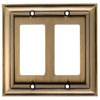 allen + roth 2-Gang Aged Brass Decorator Rocker Metal Wall Plate