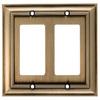 allen + roth 2-Gang Aged Brass Decorator Rocker Metal Wall Plate