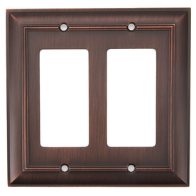 allen + roth 2-Gang Oil-Rubbed Bronze Decorator Rocker Metal Wall Plate