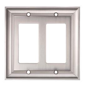 allen + roth 2-Gang Satin Nickel Decorator Rocker Metal Wall Plate