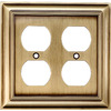 allen + roth 2-Gang Antique Brass Round Wall Plate