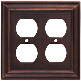allen + roth 2-Gang Oil Rubbed Bronze Standard Duplex Receptacle Metal Wall Plate