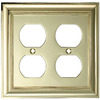 allen + roth 2-Gang Polished Brass Standard Duplex Receptacle Metal Wall Plate