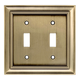 allen + roth 2-Gang Antique Brass Toggle Wall Plate