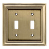 allen + roth 2-Gang Antique Brass Standard Toggle Metal Wall Plate