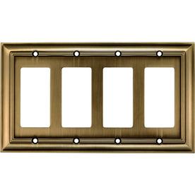 allen + roth 4-Gang Antique Brass Decorator Metal Wall Plate