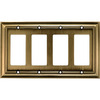allen + roth 4-Gang Antique Brass Decorator Metal Wall Plate