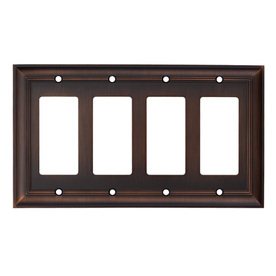 allen + roth 4-Gang Oil-Rubbed Bronze Decorator Metal Wall Plate