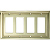 allen + roth 4-Gang Polished Brass Decorator Rocker Metal Wall Plate