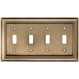 allen + roth 4-Gang Antique Brass Standard Toggle Metal Wall Plate