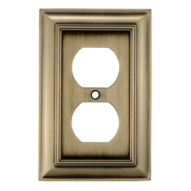 allen + roth 1-Gang Antique Brass Standard Duplex Receptacle Metal Wall Plate