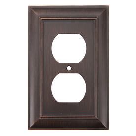 allen + roth 1-Gang Oil Rubbed Bronze Standard Duplex Receptacle Metal Wall Plate
