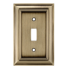 allen + roth 1-Gang Antique Brass Standard Toggle Metal Wall Plate