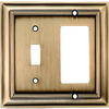 allen + roth 2-Gang Antique Brass Decorator Single Receptacle Metal Wall Plate