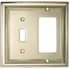 allen + roth 2-Gang Polished Brass Decorator Single Receptacle Metal Wall Plate