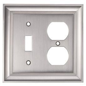 allen + roth 2-Gang Satin Nickel Combination Metal Wall Plate