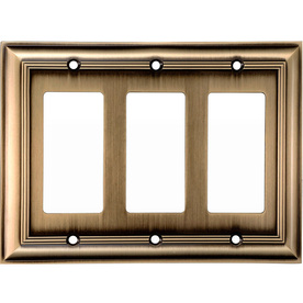 allen + roth 3-Gang Antique Brass Decorator Rocker Metal Wall Plate