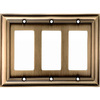 allen + roth 3-Gang Antique Brass Decorator Metal Wall Plate