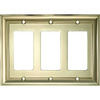 allen + roth 3-Gang Polished Brass Decorator Rocker Metal Wall Plate