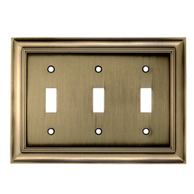 allen + roth 3-Gang Antique Brass Standard Toggle Metal Wall Plate