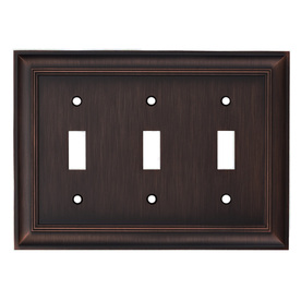 allen + roth 3-Gang Oil Rubbed Bronze Standard Toggle Metal Wall Plate