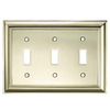 allen + roth 3-Gang Polished Brass Standard Toggle Metal Wall Plate