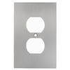 allen + roth 1-Gang Satin Nickel Standard Duplex Receptacle Metal Wall Plate