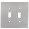 allen + roth 2-Gang Satin Nickel Standard Toggle Metal Wall Plate