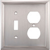 allen + roth 2-Gang Satin Nickel Combination Metal Wall Plate