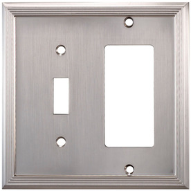 allen + roth 2-Gang Satin Nickel Round Wall Plate