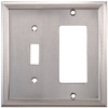 allen + roth 2-Gang Satin Nickel Standard Duplex Receptacle Metal Wall Plate