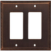 allen + roth 2-Gang Oil Rubbed Bronze Decorator Rocker Metal Wall Plate