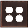 allen + roth 2-Gang Oil-Rubbed Bronze Standard Duplex Receptacle Metal Wall Plate