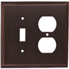 allen + roth 2-Gang Oil Rubbed Bronze Combination Metal Wall Plate