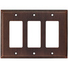 allen + roth 3-Gang Oil-Rubbed Bronze Decorator Metal Wall Plate