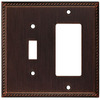 allen + roth 2-Gang Oil Rubbed Bronze Decorator Single Receptacle Metal Wall Plate