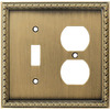 allen + roth 2-Gang Aged Brass Combination Metal Wall Plate