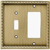 allen + roth 2-Gang Aged Brass Decorator Single Receptacle Metal Wall Plate